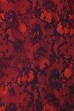 Zwarte en rode bloemenkanttextuur Stock Afbeelding
