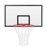 Zwarte en rode die basketbalrugplank op witte achtergrond wordt geïsoleerd Stock Foto's