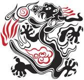 Zwarte en rode draak royalty-vrije illustratie