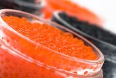 Zwarte en rode kaviaar Stock Afbeeldingen