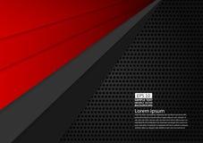 Zwarte en rode kleuren geometrisch abstract modern ontwerp als achtergrond met exemplaar ruimte Vectorillustratie Stock Foto's