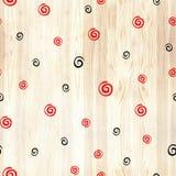 Zwarte en rode spiraal op houten textuur naadloos patroon Zwarte en rode lijncirkels op witte achtergrond Geometrische ronde Royalty-vrije Stock Afbeelding
