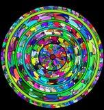 Zwarte en samenvatting gekleurde cirkel Stock Afbeelding