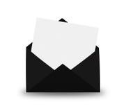 Zwarte Envelop met brief royalty-vrije stock afbeeldingen