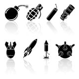 Zwarte explosieve pictogrammen Stock Foto's