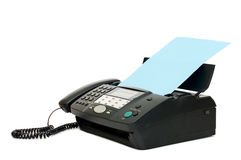 Zwarte fax die op witte achtergrond wordt geïsoleerdn stock afbeeldingen