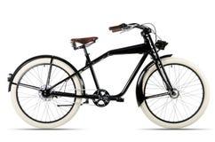 Zwarte fiets vóór witte achtergrond royalty-vrije stock afbeeldingen