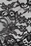 Zwarte fijne kant bloementextuur Stock Afbeeldingen