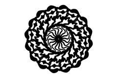 Zwarte fractal mandala op witte achtergrond Eenvoudige hand-drawn mandalavector Rond zegelmalplaatje stock illustratie