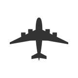 Zwarte geïsoleerd silhouet van vliegtuig op witte achtergrond Mening van hierboven van vliegtuig royalty-vrije illustratie