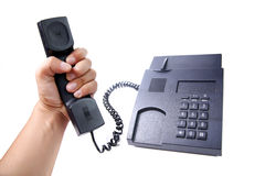 Zwarte geïsoleerde bureautelefoon Stock Foto's