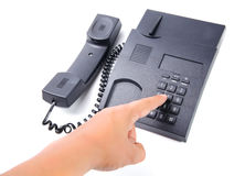 Zwarte geïsoleerde bureautelefoon Royalty-vrije Stock Foto