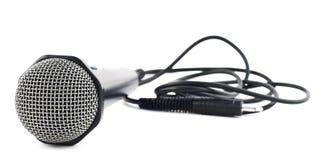 Zwarte geïsoleerde microfoon Stock Foto