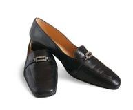 Zwarte geïsoleerdee schoenen, stock foto