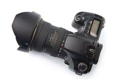 Zwarte geïsoleerdeo camera DSLR stock afbeeldingen
