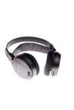 Zwarte geïsoleerdes hoofdtelefoons stock foto's