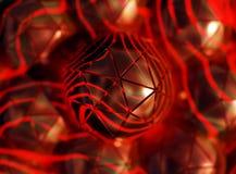 Zwarte Gebieden die met rood licht gloeien, icospheres, het 3d teruggeven, abstracte illustratieachtergrond stock illustratie