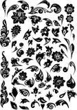 Zwarte gebladerte verfraaide elementen Stock Afbeelding