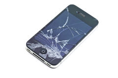 Zwarte gebroken slimme telefoon Stock Foto