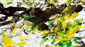 Zwarte geelgroene contrasten, de achtergrond van de verfwaterverf, abstracte het schilderen waterverfachtergrond stock foto