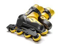 Zwarte & gele 3D rollerblades stock illustratie