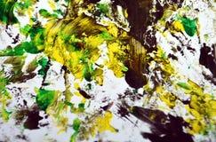 Zwarte gele donkergroene contrasten, de achtergrond van de verfwaterverf, abstracte het schilderen waterverfachtergrond royalty-vrije stock fotografie