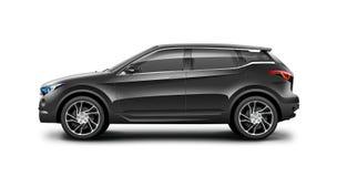 Zwarte Generische SUV-Auto op Witte Achtergrond Zijaanzicht met Geïsoleerde Weg vector illustratie