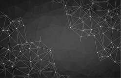 Zwarte geometrische grafische abstracte veelhoekige ruimte in donkere backgro royalty-vrije illustratie