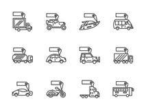 Zwarte geplaatste de lijnpictogrammen van de voertuigenverkoop Stock Foto's