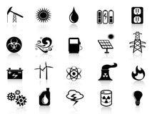 Zwarte geplaatste energiepictogrammen royalty-vrije illustratie