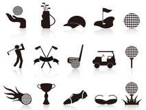 Zwarte geplaatste golfpictogrammen Stock Fotografie