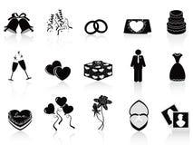 Zwarte geplaatste huwelijkspictogrammen Royalty-vrije Stock Afbeelding