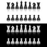 Zwarte geplaatste schaakpictogrammen De cijfers van de schaakraad Vectorillustratieschaakstukken royalty-vrije illustratie