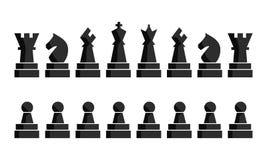 Zwarte geplaatste schaakpictogrammen De cijfers van de schaakraad Vectorillustratieschaakstukken Negen verschillende voorwerpen m royalty-vrije illustratie