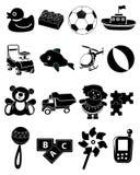 Zwarte geplaatste speelgoedpictogrammen Royalty-vrije Stock Foto's