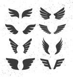 Zwarte Geplaatste Vleugels stock illustratie