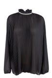 Zwarte geplooide blouse Stock Afbeelding