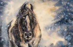 Zwarte geschilderde paardwaterverf royalty-vrije illustratie
