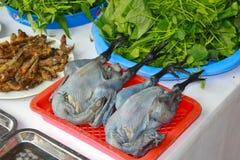 Zwarte gevilde kippen voor verkoop bij een Vietnamese markt Royalty-vrije Stock Fotografie