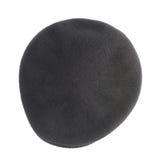 Zwarte geweven baret vlak-bekroond geïsoleerde hoed royalty-vrije stock foto's