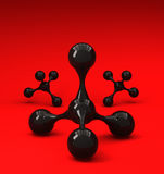 Zwarte glanzende molecules op rode achtergrond Stock Foto