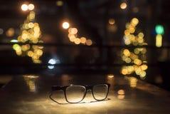 Zwarte glazen op de lijst Stock Fotografie