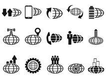 Zwarte globale bedrijfs geplaatste pictogrammen Stock Foto's