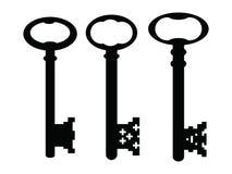 Zwarte gotische uitstekende sleutels Royalty-vrije Stock Afbeeldingen