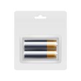 Zwarte Gouden aa-Batterijen in Transparante Blaar Stock Afbeelding