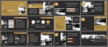 Zwarte gouden presentatiemalplaatjes en van infographicselementen achtergrond Gebruik voor bedrijfs jaarverslag, vlieger, collect royalty-vrije illustratie