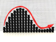Zwarte grafiek met rode arrow?1 Royalty-vrije Stock Foto's