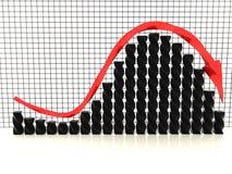 Zwarte grafiek met rode arrow?2 Stock Foto