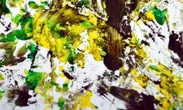 Zwarte grijze gele contrasten, de achtergrond van de verfwaterverf, abstracte het schilderen waterverfachtergrond stock afbeelding