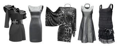 Zwarte grijze geplaatste kleding Stock Afbeelding